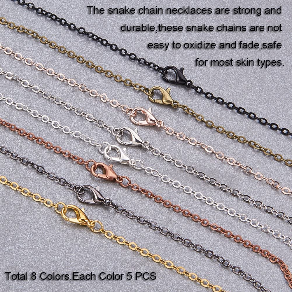 """PH PandaHall 40 Strands 8 Colors Brass Cross Chains Flat Oval Links Cable Chain Necklace with Lobster Clasps for Jewelry Making 23.6/"""" Long"""