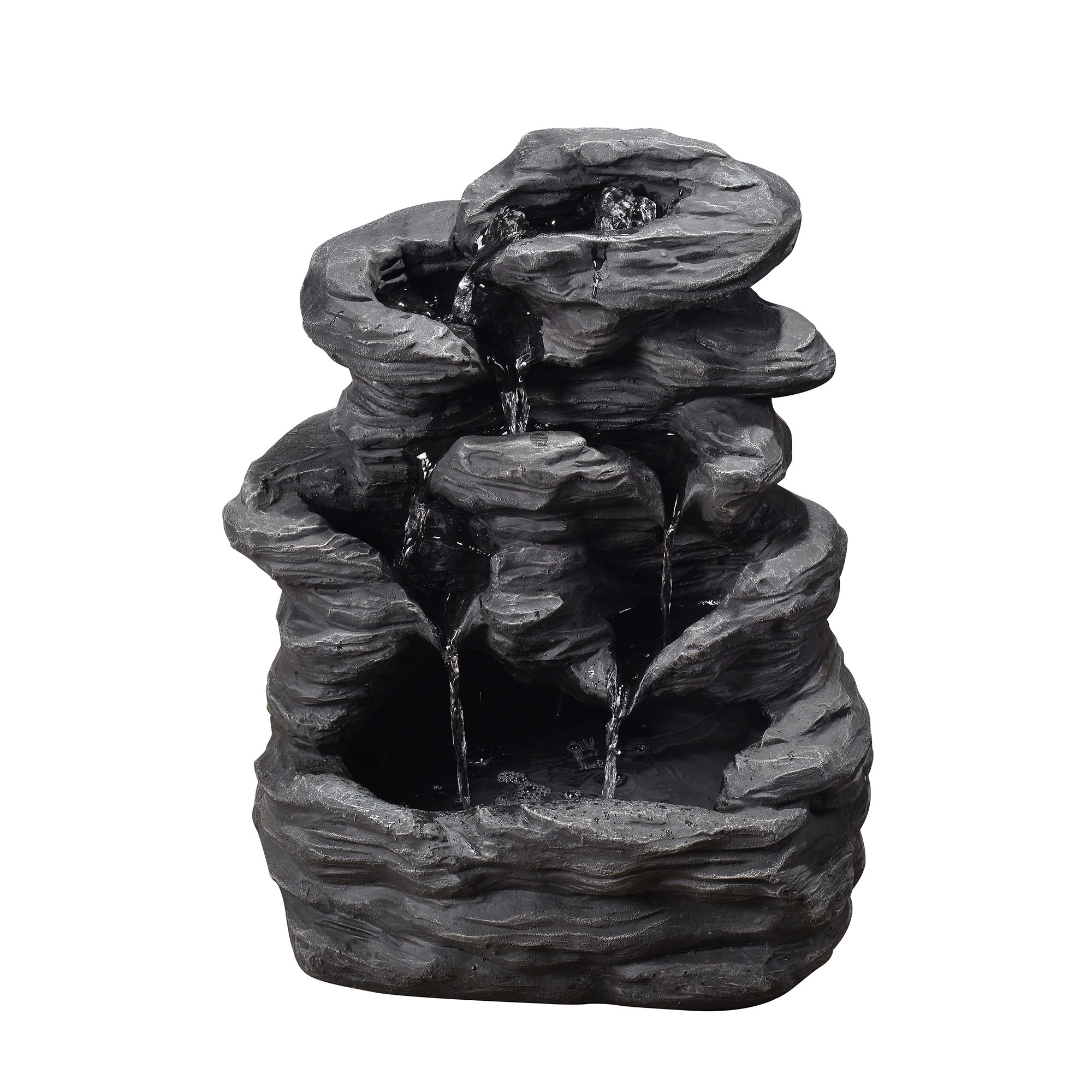 Peaktop VFD8302 Outdoor Tiered Stone Slate Fountain, 20'', Black