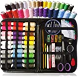 Travel Sewing kit, Over 110 DIY Premium Sewing Supplies, Mini Sewing kit, Extra Wonder Clips and 40 Quality Sewing pins, for Travel, Kids, Beginners, Students and Home. Rainbow