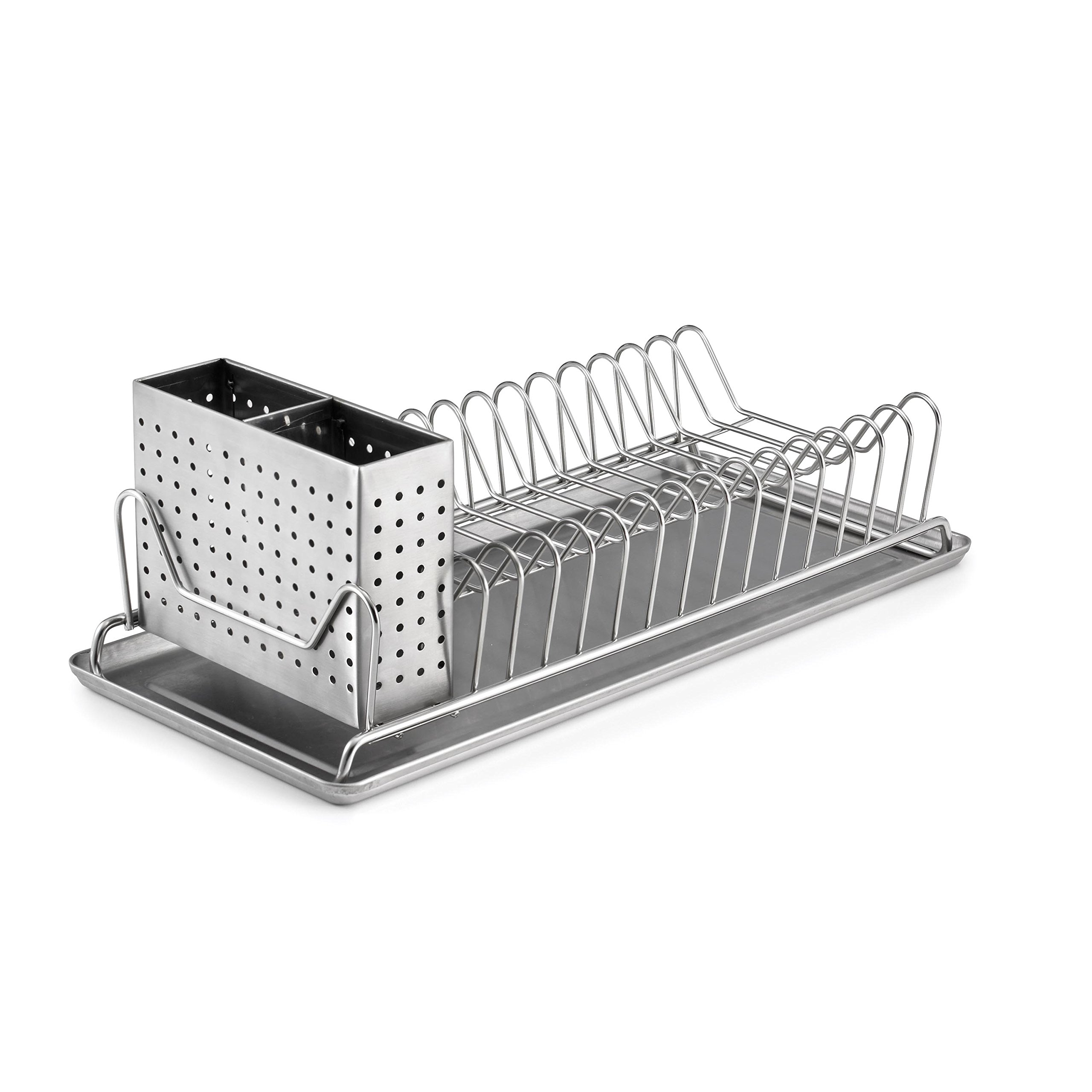 Polder 6115-75 Compact Stainless-Steel Dish Rack with Utensil Holder, 14'' x 6.5'' x 5''