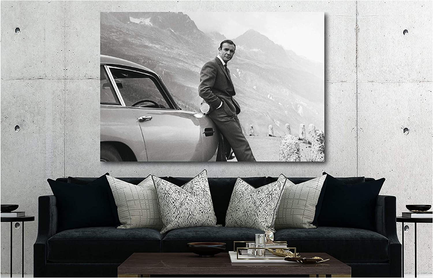 Amazon Com James Bond Aston Martin Sean Connery Canvas Wall Art Print Various Sizes 18x24inch Framed Posters Prints