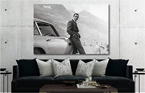 All Sizes James Bond 007 Sean Connery Large BOX CANVAS Art Print Black /& White