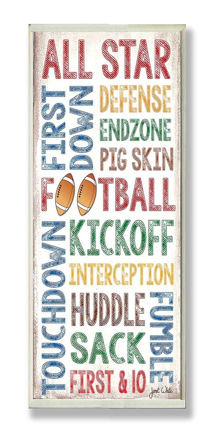7 x 0.5 x 17 The Kids Room by Stupell All Star Football Typography Rectangle Wall Plaque Proudly Made in USA brp-1608