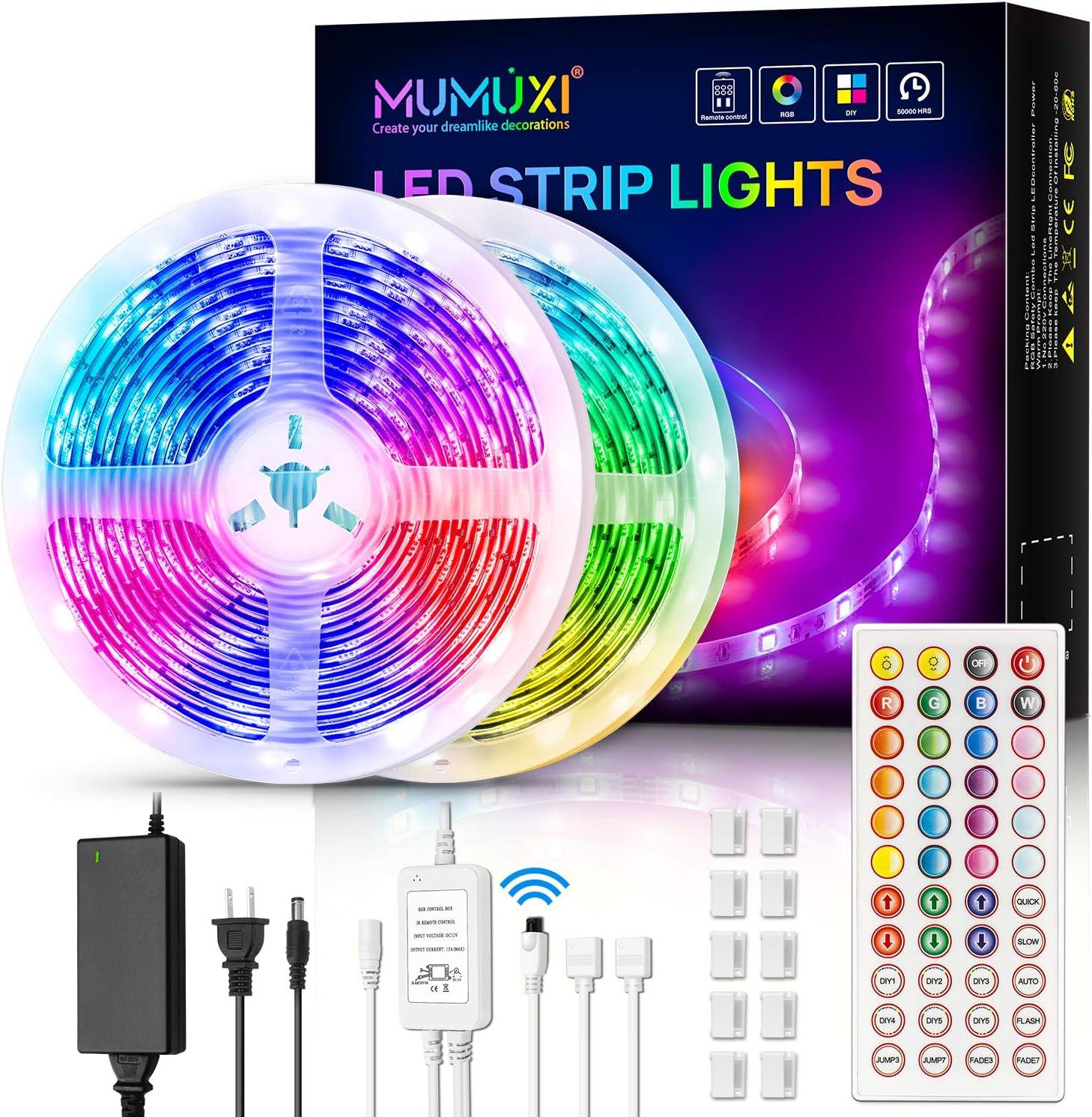 MUMUXI LED Strip Lights, 32.8ft Color Changing Led Light Strip 5050 RGB 300 LEDs Flexible LED Tape Light Kit with 44 Keys Remote Control and 12V Power Supply for Room, Bedroom, Bar, Home, Kitchen: Home Improvement