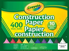 Crayola 400 Pages Construction Paper Pad, School and Craft Supplies, Teacher and Classroom Supplies, Gift for Boys and Girls, Kids, Ages 3,4, 5, 6 and Up, Arts and Crafts
