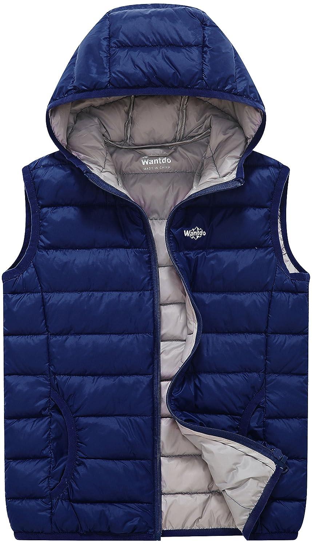 Wantdo Jungen und Mädchen Packable Puffer Daunenweste mit Kapuze leichte ärmellose Jacke