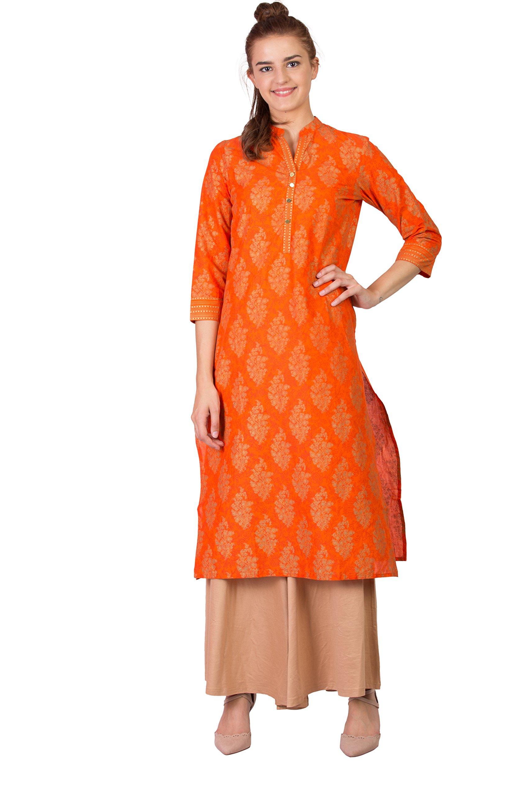 SABHYATA Women Kurta Designer Ethnic Long Dress Casual Tunic Kurti for Women Ladies Partywear Material 100% Pure Cotton Chinese Collar Medium Orange