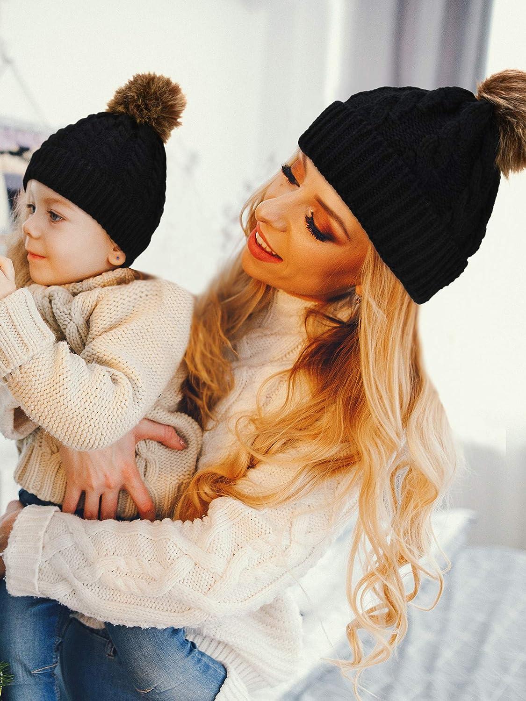 2 Pezzi Cappello Genitore-Figlio Scaldino Invernale Cappello a Maglia Morbido Set Cappello di Mamma Bambini Cappello Slouchy Cappello Beanie con Pelliccia Ecologica Pom
