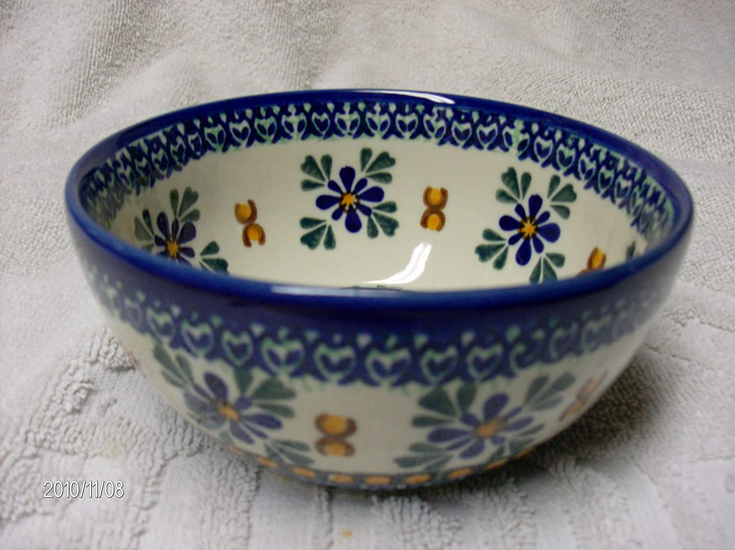 Polmedia Polish Pottery 5 Inch Stoneware Bowl H1085f Hand Painted From Millena In Boleslawiec Poland Shape S307b 3 03 Pattern P5414a 071 Home Kitchen