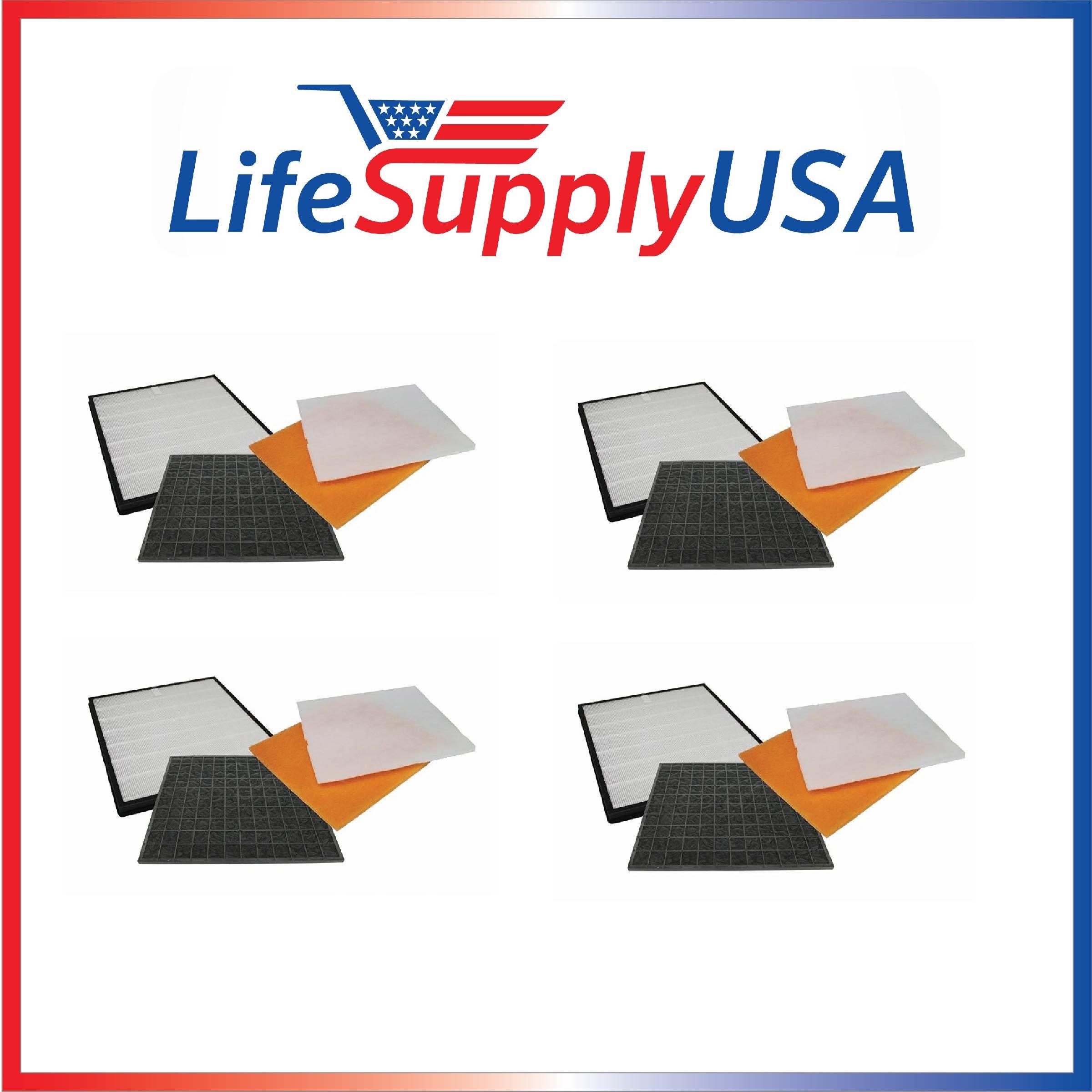 4 Pack Filter Kit Fits Rabbit Air Air Minus A2 SPA-780A & SPA-780A by LifeSupplyUSA