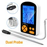 XIKEZAN Instant Read Meat Thermometer w/ Waterproof Probe- FDA Approved Digital Cooking Food Thermometer with Dual Probe for BBQ Oven Grill Smoker, Built-in Clock Timer