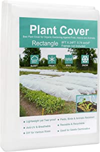 AISBAOB Garden Plant Covers Freeze Protection 8FTX24FT Fabric Plant Blanket Floating Row Cover for Cold Weather Reusable Plant Covers for Winter Frost Protection Sun Pest Animal Protection