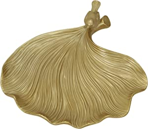 Sagebrook Home, Gold Decorative Resin Leaf Plate, 12.5 x 12.5 x 2.75 Inches