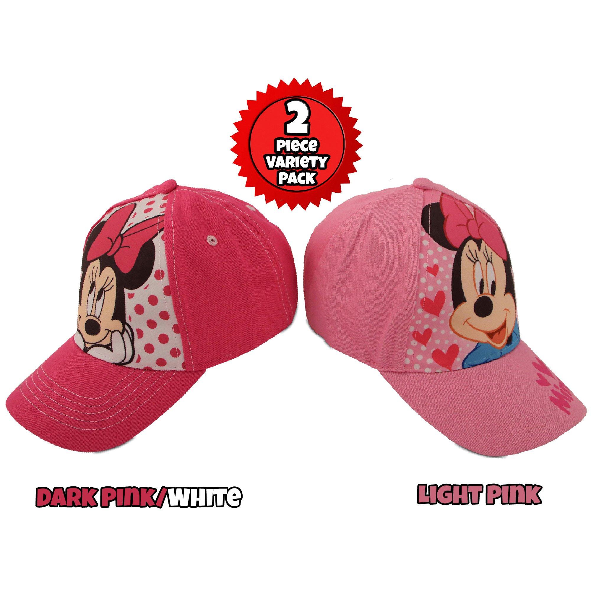 Disney Little Girls Assorted Character Cotton Baseball Cap, 2 Piece Design Set, Age 2-7 (Toddler Girls – Age 2-4 – 51CM, Minnie Mouse Design – 2 Piece Set)