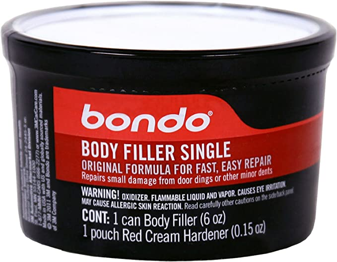 Amazon Com Bondo Filler Single Original Formula For Fast Easy Repair 6 Oz Filler Can With Hardener Pouch Garden Outdoor