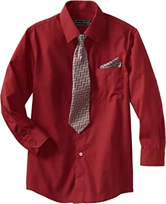American Exchange Boys Dress Shirt with Tie and Pocket Square