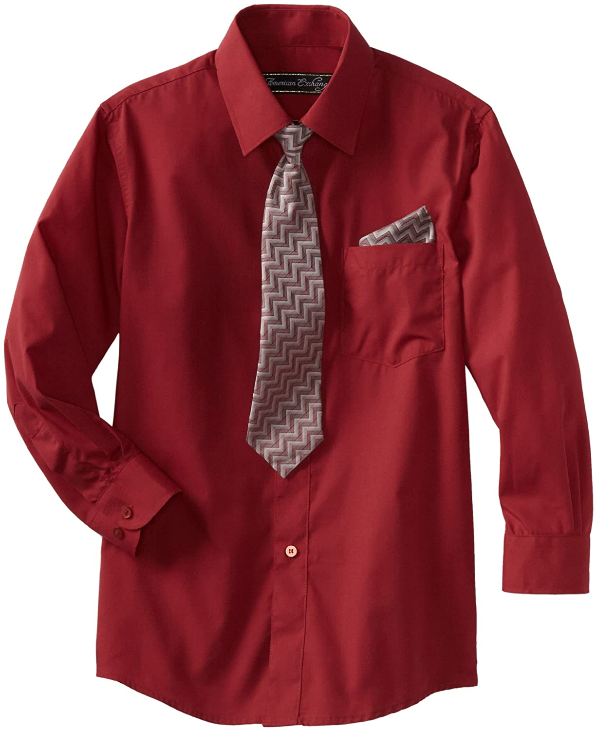 American Exchange Big Boys' Dress Shirt with Tie and Pocket Square Burgundy