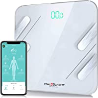 Pohl Schmitt Body Fat Bathroom Scale, Smart Digital Scale Tracks 13 Key Compositions, 8mm-Thick Glass, Sync with Apple…