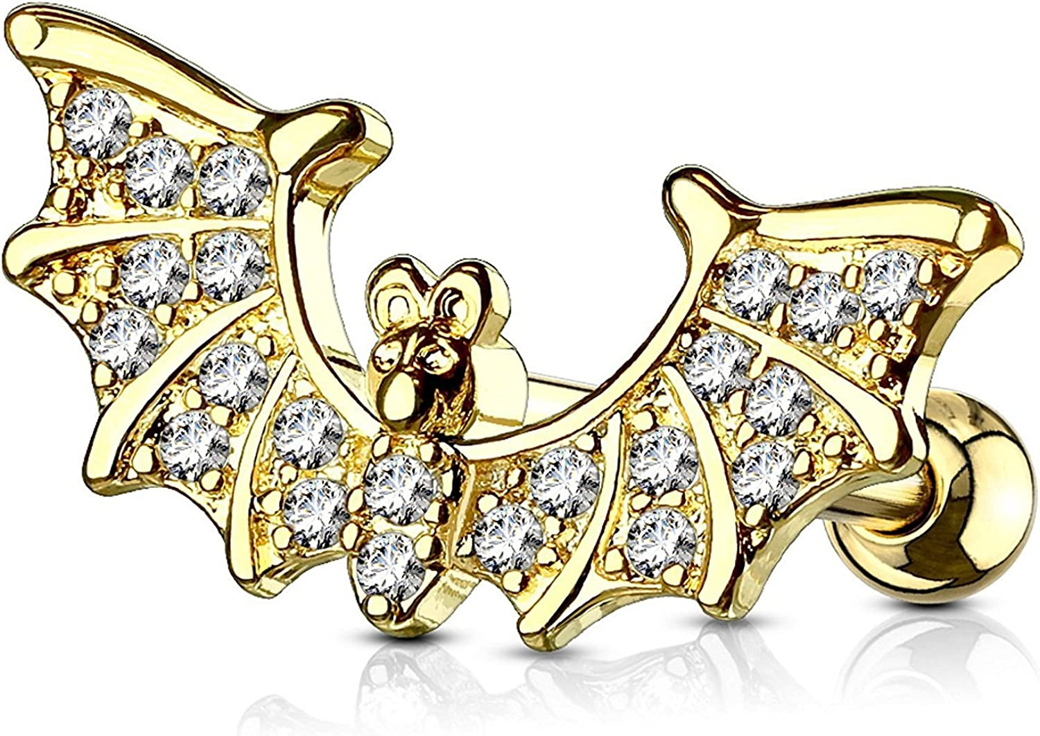 Surgical Steel Ear Cartilage Tragus Barbell Stud with CZ Paved Bat Wings Top