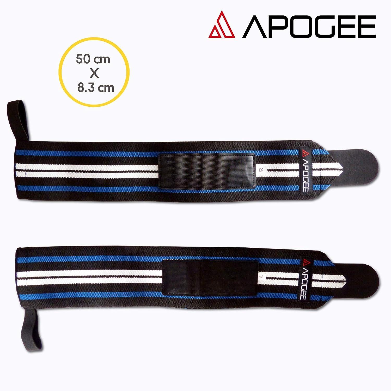 80/% algod/ón 20/% poli/éster Gu/ía y bolsa de transporte incluidos x2 Azul APOGEE Mu/ñequeras deportivas, 50 cm * 8.3 cm mu/ñequeras ajustables para gym crossfit halterofilia