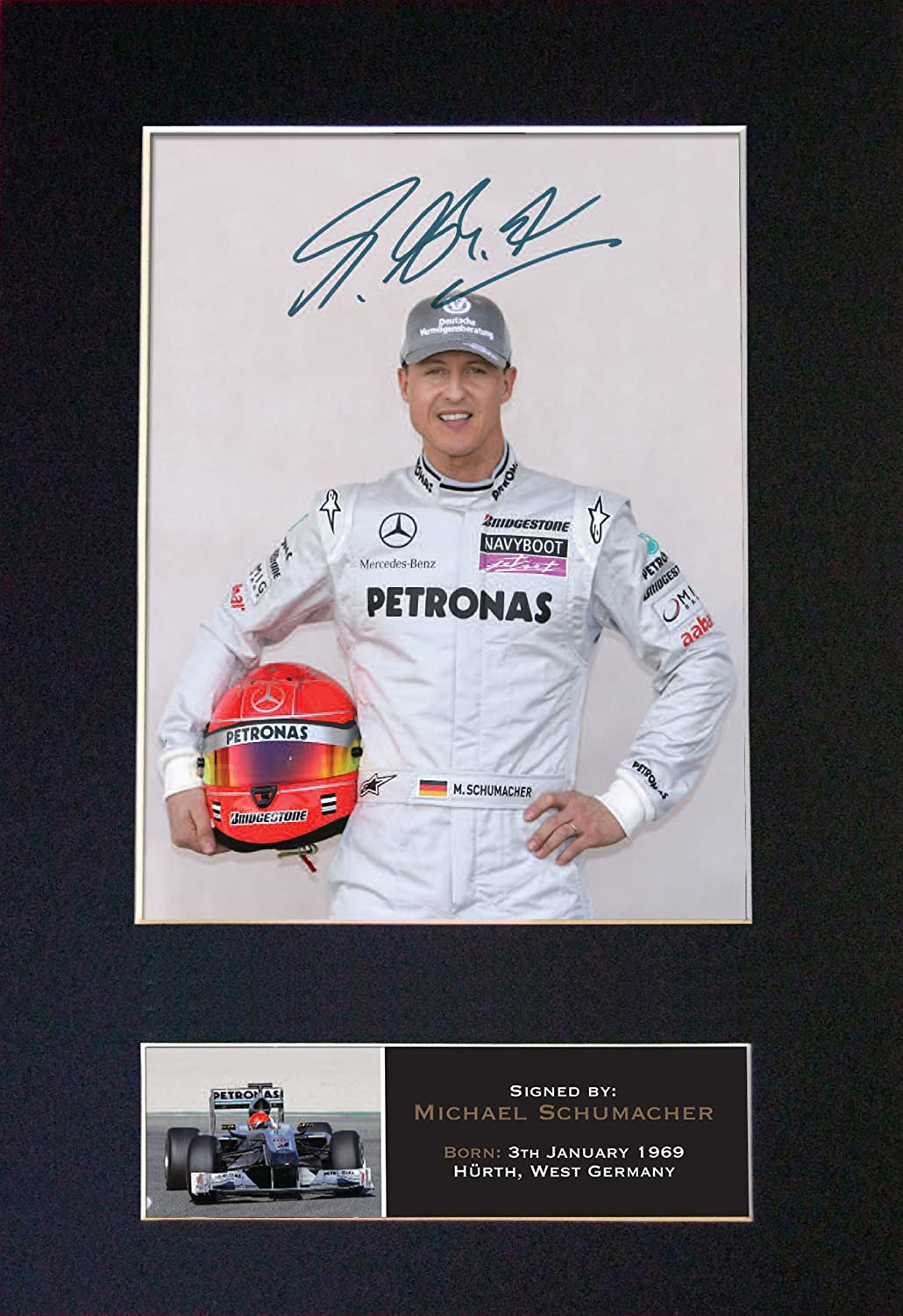 297 x 210mm MICHAEL SCHUMACHER Signed Autograph Mounted Photo Reproduction PRINT A4 Rare Black Frame #425