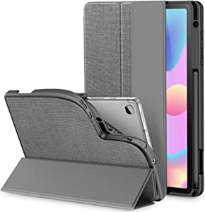 INFILAND Galaxy Tab S6 Lite Case with S Pen Holder, Slim Tri-Fold Case Cover Compatible with Samsung Galaxy Tab S6 Lite 10.4 Inch Model SM-P610/P615 2020 Release [Support Auto Wake/Sleep], Gray