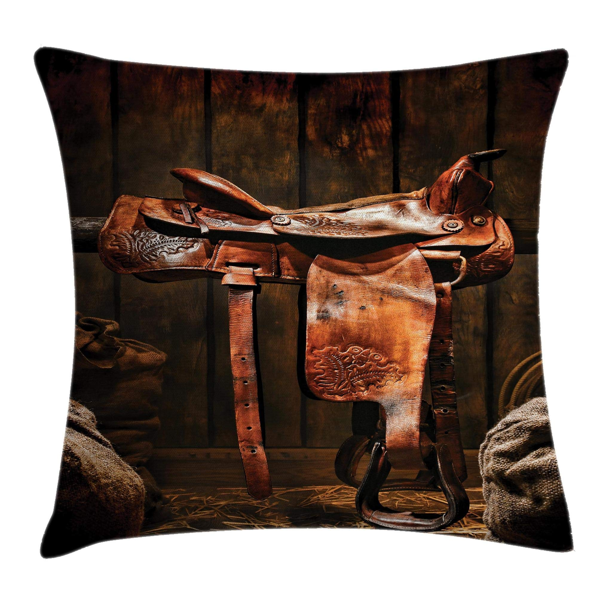 Ambesonne Western Throw Pillow Cushion Cover, American West Traditional Authentic Style Rodeo Cowboy Saddle Wood Ranch Barn Image, Decorative Square Accent Pillow Case, 20 X 20 Inches, Dark Brown by Ambesonne (Image #1)