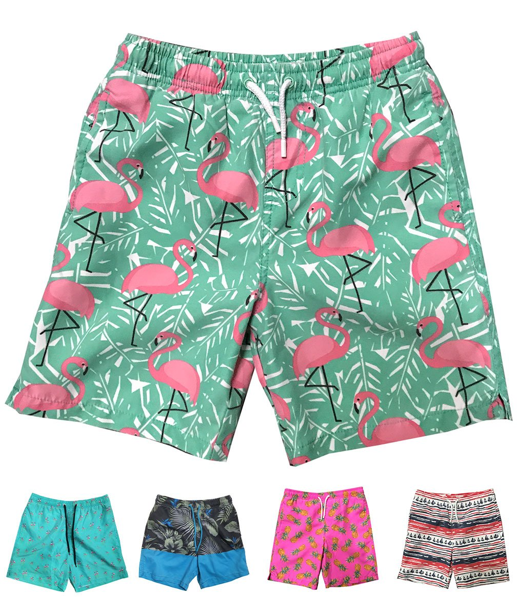 INGEAR Little Boys Quick Dry Beach Board Shorts Swim Trunk Swimsuit Beach Shorts with Mesh Lining (Pink Flamingo, 8/10)