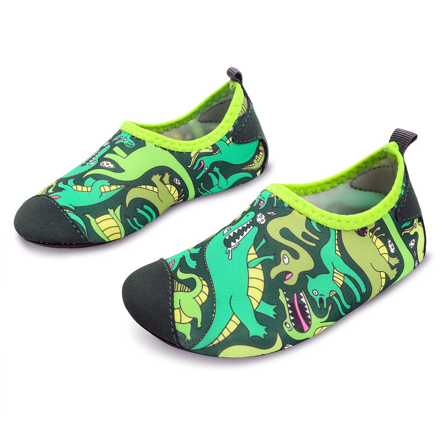 L-RUN Boys & Girls Water Shoes Lightweight Aqua Sock Green 8-8.5=EU 24-25