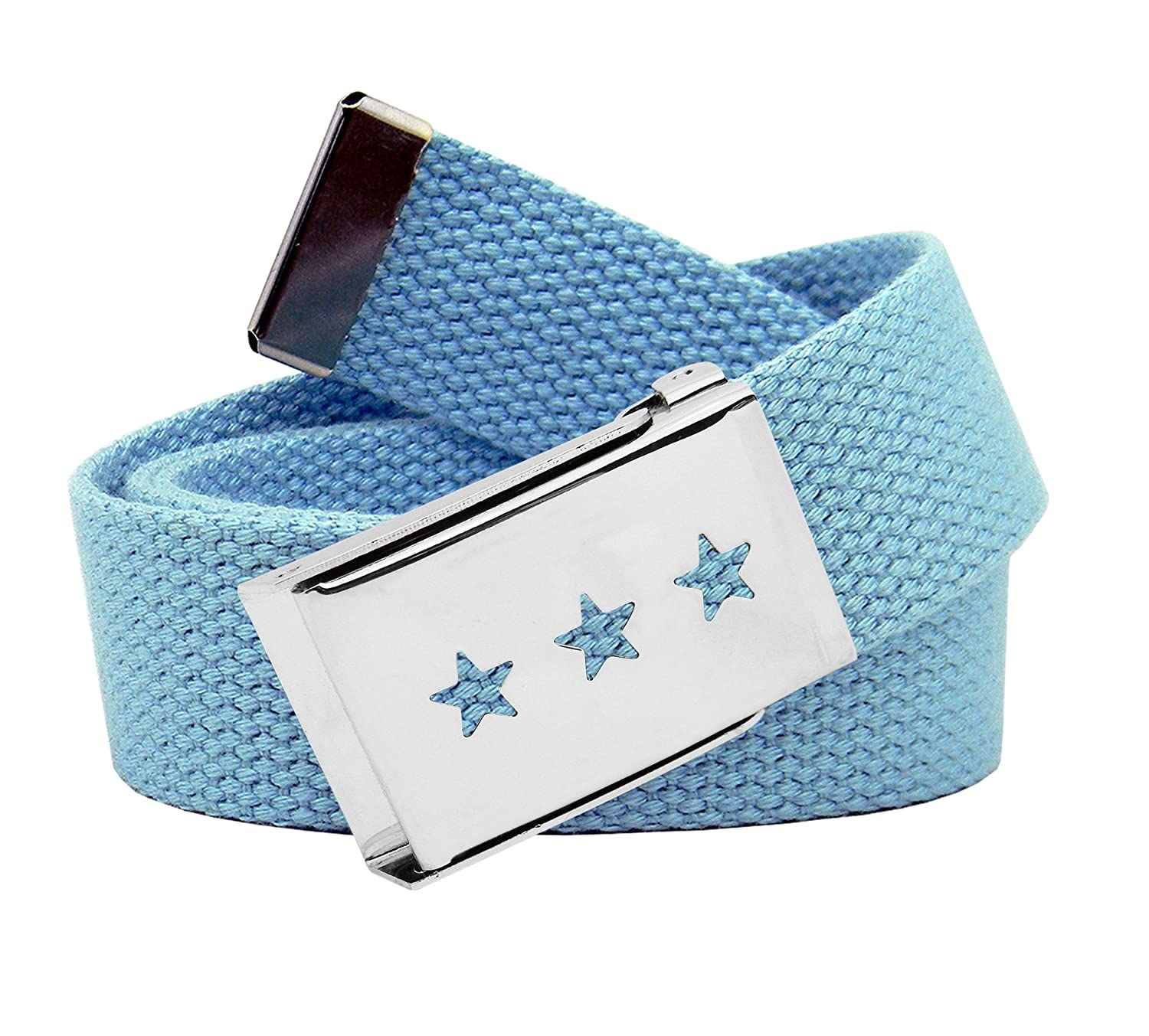 Girls Triple Star Cut Out Silver Flip Top Belt Buckle with Canvas Web Belt 9803G-$P