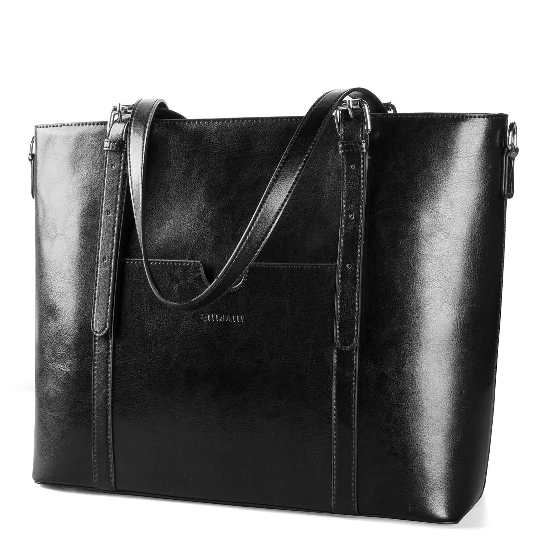 Women 15.6'' Laptop Genuine Leather Shoulder Bag Work Handbag Satchel Carry-on Tote Bag in Trolley Handle by Enmain by Enmain