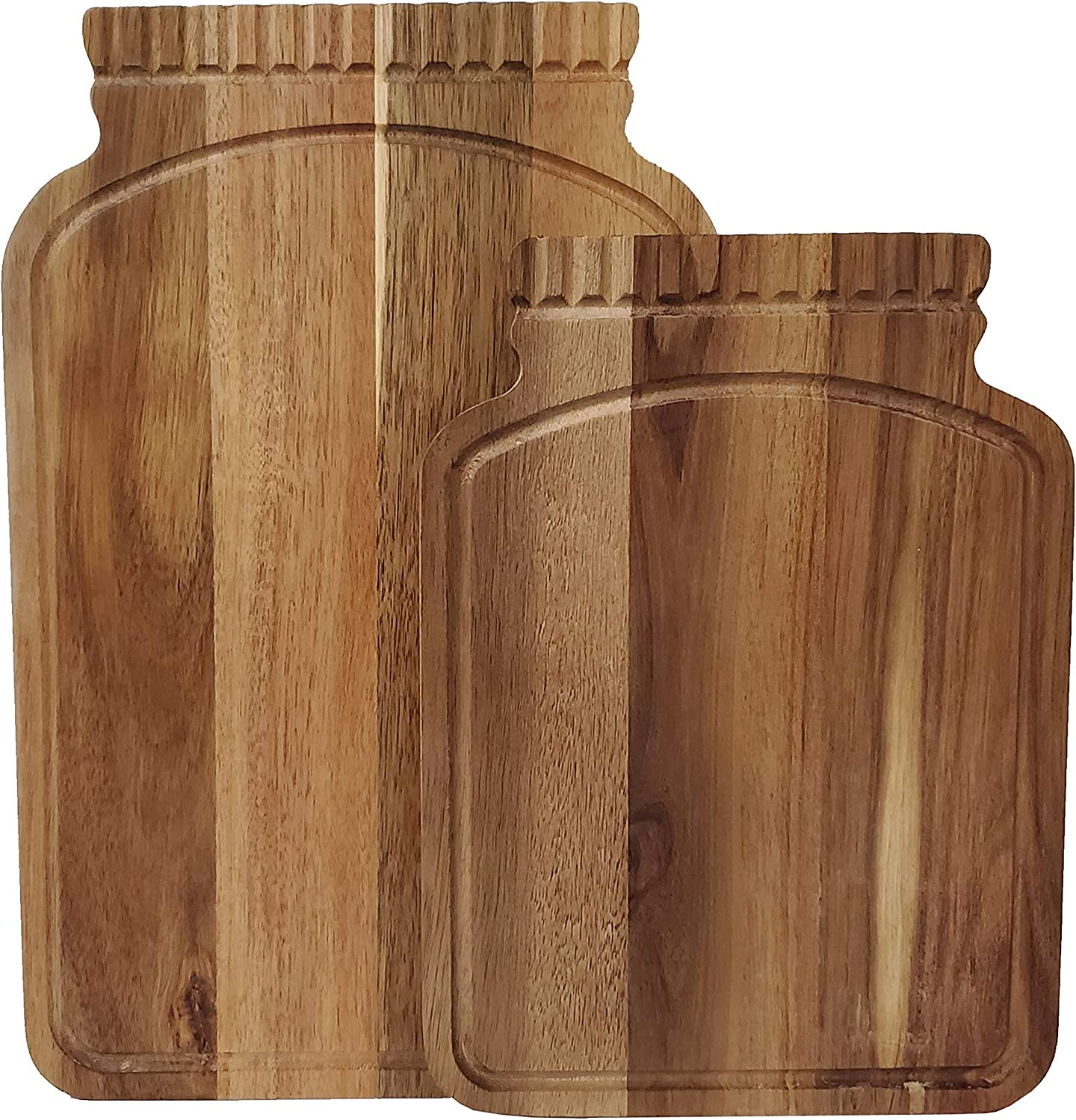 Mason Craft & More Acacia Wood Kitchen Dining Serveware Plank Tray Serving Entertaining Faux Leather Handles, Mason Jar Shaped Cutting Boards Set of 2