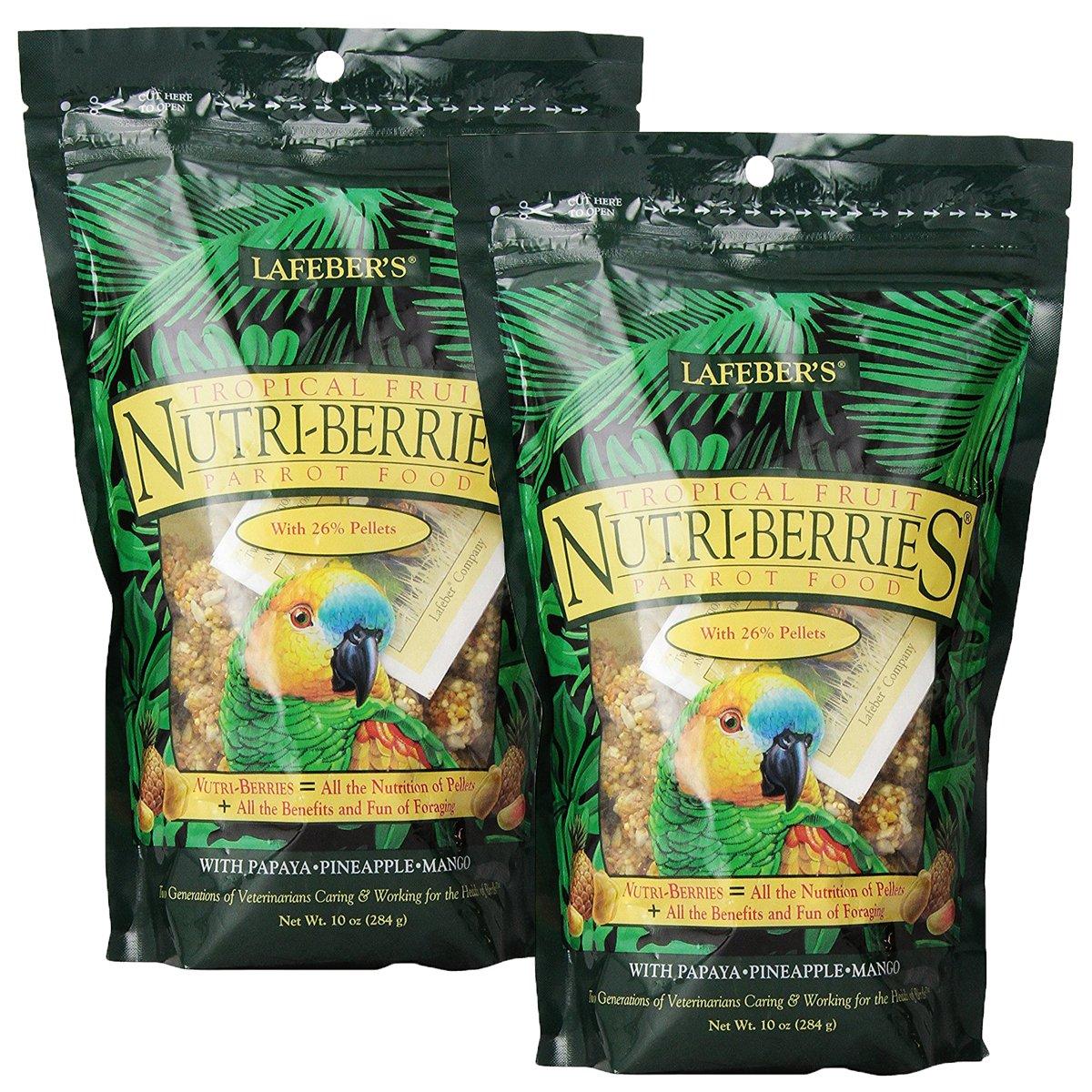 Lafeber Tropical Fruit Nutri-Berries Parrot Food 10 oz bag (2 Pack) by LAFEBER'S