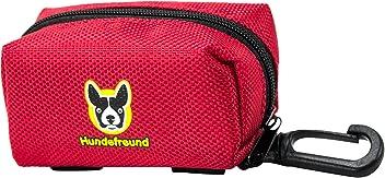 Hundefreund Kotbeutelspender für Hunde-Kotbeutel mit 2 Möglichkeiten zur Befestigung | Roter Gassibeutel-Spender
