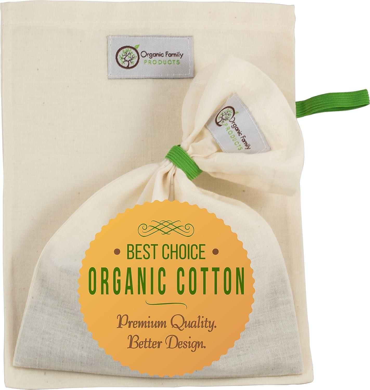 Organic Cotton Cold Brew Coffee Bags (2 Pack) - Super Fine Filter & Smart Drawstring Free Design for No Grounds or Silt - Safe to Boil Teas or Wort - Food Strainer for Nut Milks, Yogurt, Juice & More