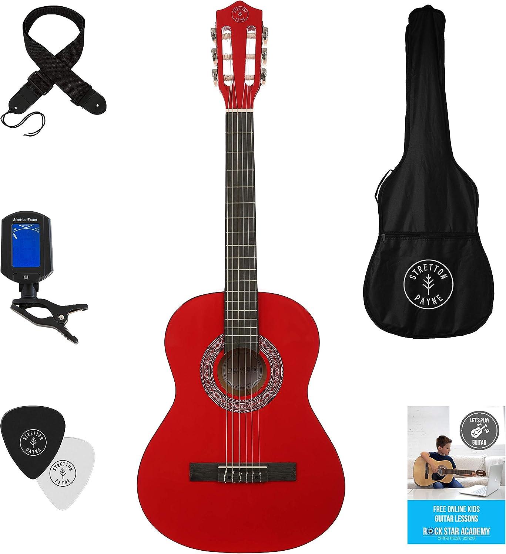 Guitarra acústica 3/4 (91,4 cm), con de cuerdas de nailon para guitarra infantil clásica, color rojo