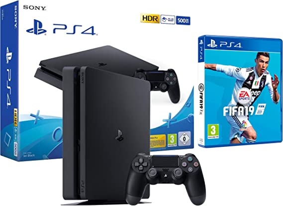 PS4 Slim 500Gb Negra Playstation 4 Consola + FIFA 19: Amazon.es ...