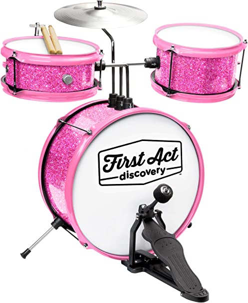 First Act Discovery Drum Set & Seat, Pink Sparkle