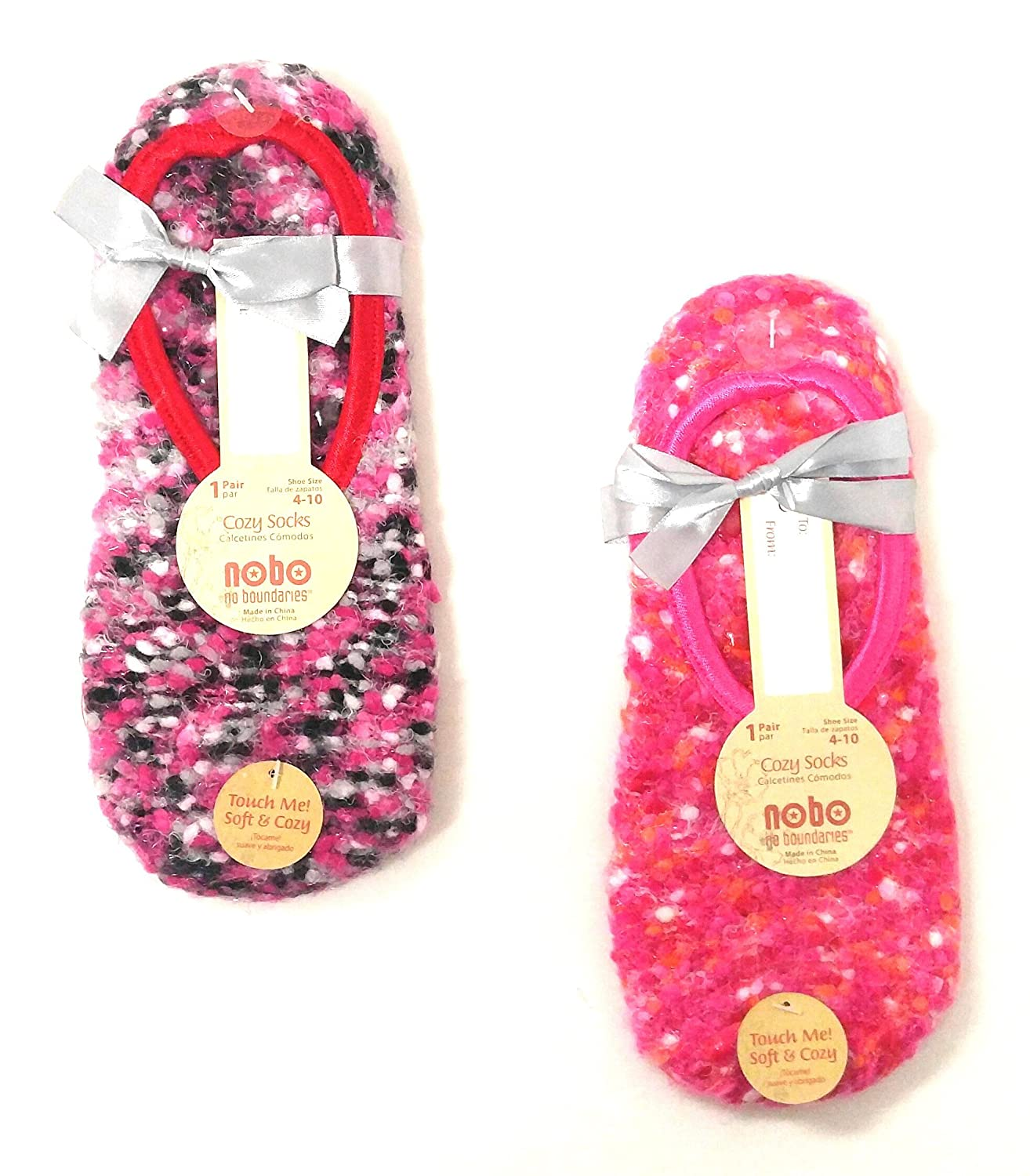 Amazon.com : Set of 2 Pairs of NOBO Cozy Ballet Slipper Socks with Non-Skid Bottoms with Red and Pink Colors : Sports & Outdoors