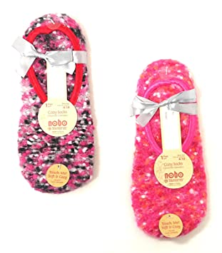 Set of 2 Pairs of NOBO Cozy Ballet Slipper Socks with Non-Skid Bottoms with