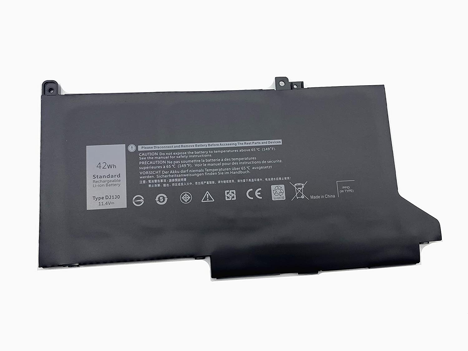 Aluo DJ1J0 11.4V42Wh Laptop Battery for Dell Latitude 12 7280 7290 E7280 E7290 13 7380 7390 E7380 E7390 14 7480 7490 E7480 E7490 Series Notebook 451-BBZL C27RW PGFX4 ONFOH DJ1JO K8X0T KHY0C
