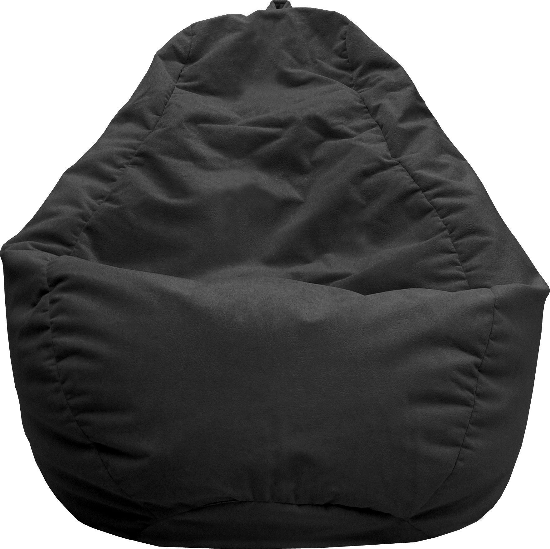 Gold Medal Bean Bags Tear Drop Fairview Micro-Fiber Suede Bean Bag, Large, Black