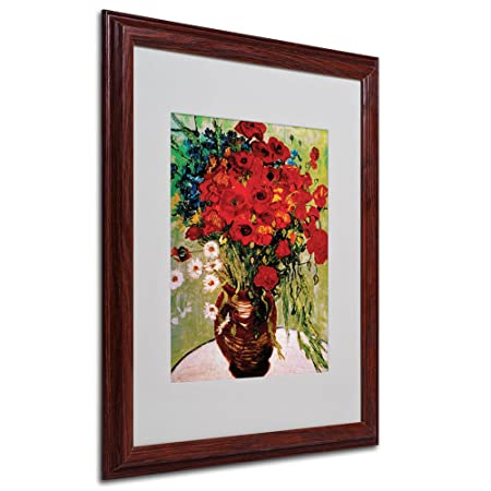 Vincent Van Gogh Daisies and Poppies Framed Matted Canvas Art, 16 by 20-Inch