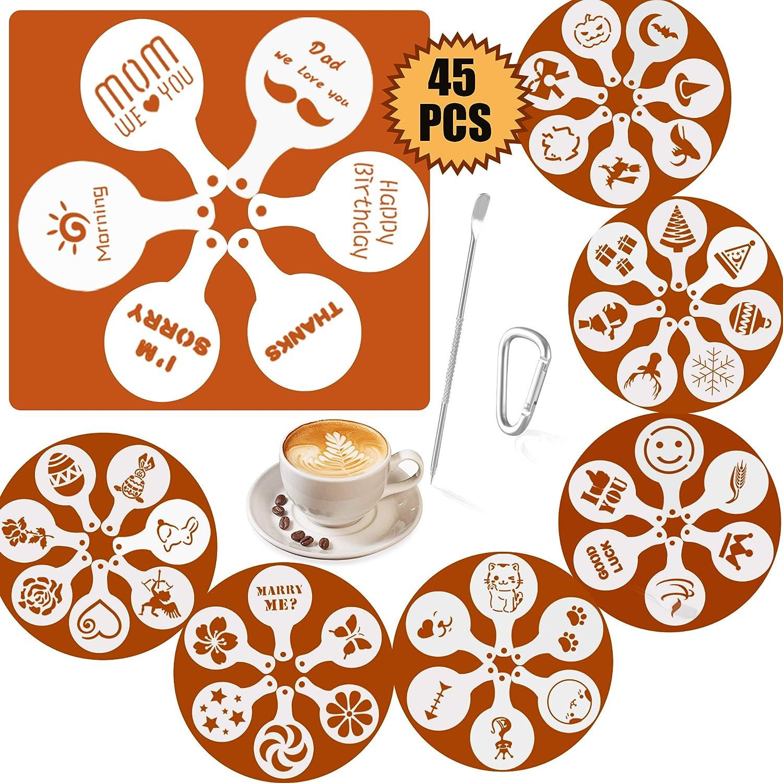 SOSMAR 45-Pack Coffee Decorating Stencils + 1 Coffee Latte Art Pen, Magnoloran Foam Latte Art Stencils Cookie Decorating Stencil Cappuccino Stencils, for All Kinds of Mousse, Cup Cake, Birthday Cake