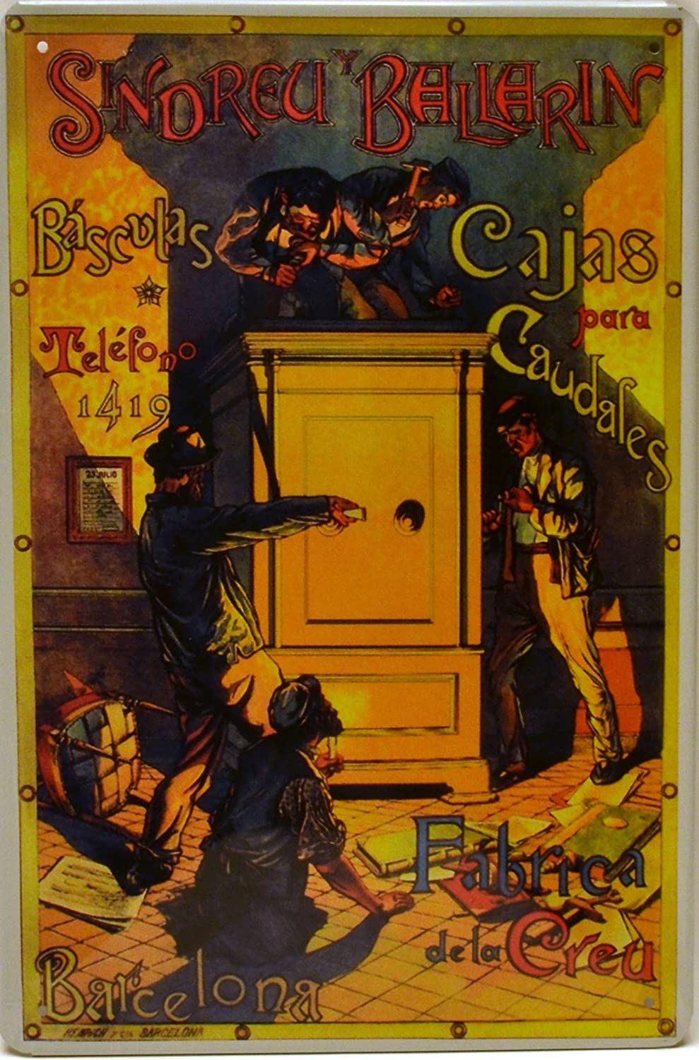 Amazon.com: ART ESCUDELLERS Tin poster sign, with retro vintage design from Catalunya/Spain. Tin sign. 11,81