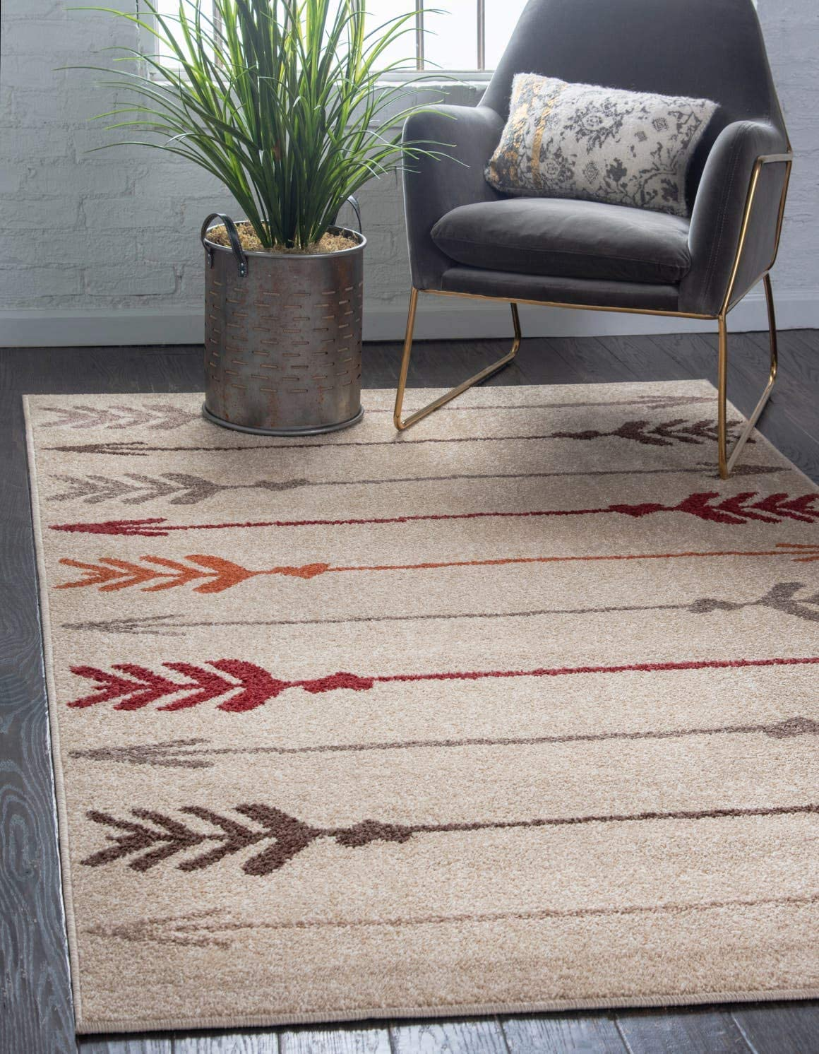 Unique Loom Autumn Collection Modern Arrows Warm Toned Beige Area Rug 5 0 x 8 0