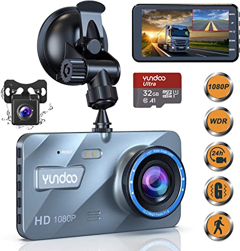 Dual Dash Cam Car Camera – Contain 32GB SD Card Full HD 1080P Dash Camera for Cars 4 IPS Screen Dual Wide Angle Lens Car Dash Camera G-Sensor Cycle Recording Parking Monitoring. 2020 Upgraded Version
