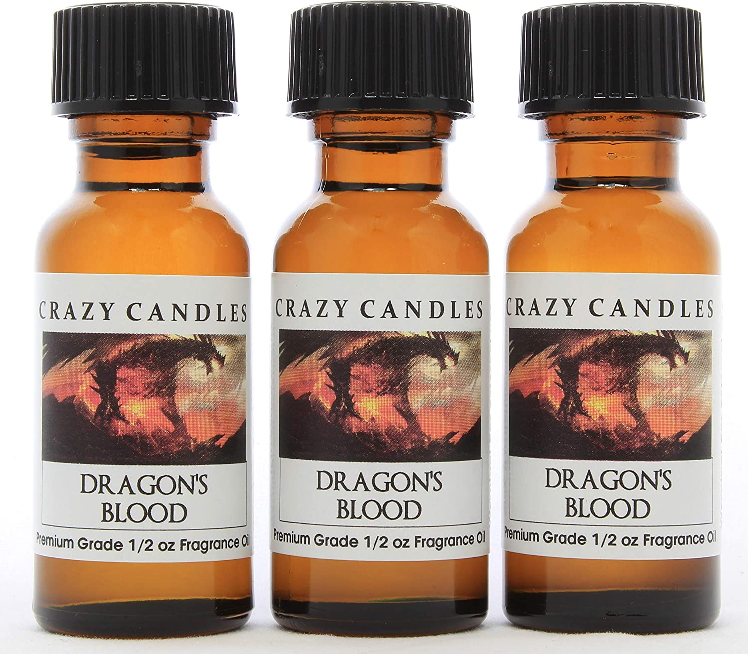 Dragon's Blood (natural herb, earthy, masculine aroma spice, dark woods and mystery) 3 Bottles 1/2 FL Oz Each (15ml) Premium Grade Scented Fragrance Oil by Crazy Candles