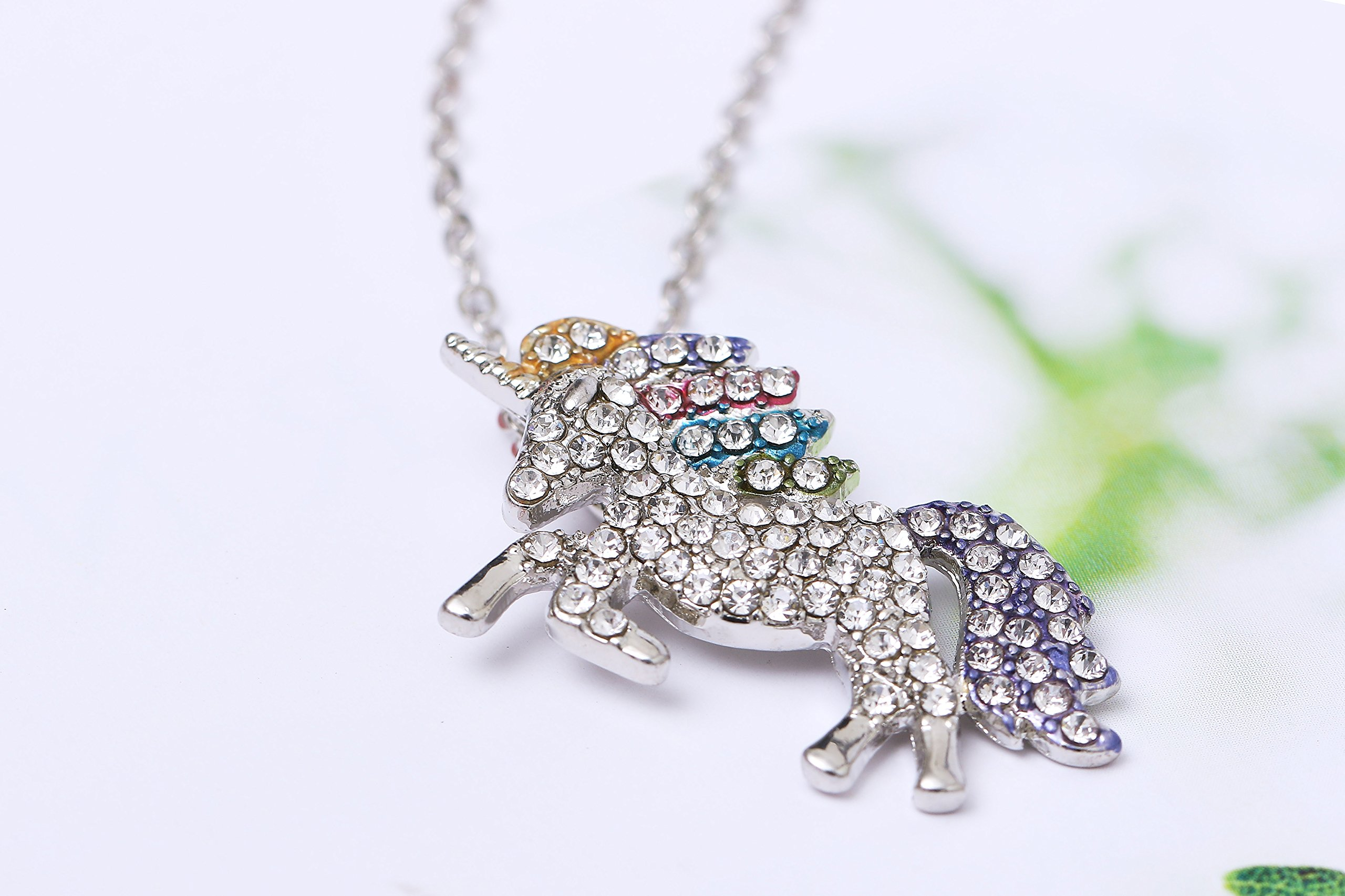 MUHU Fashion Rainbow Rhinestones Unicorn Pendant Necklace 8