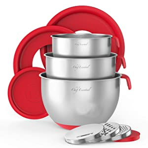 Stainless Steel Mixing Bowls With Pour Spout, Set of 3 with Non-Slip Silicon Handles & Non-Skid Bottom, Measurement Marks In Each Bowl, 3 Different Grater Attachments and Leak-Proof Lids, (Red).